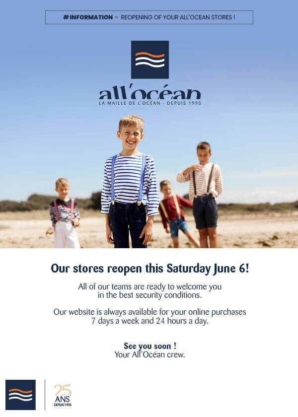 Reopening of all'ocean stores June 6