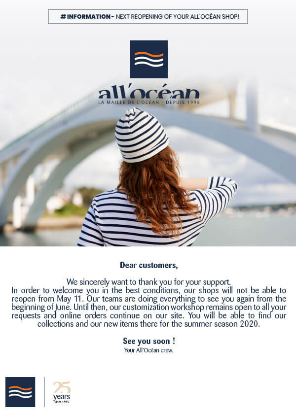 Information reopening of the All'Océan marine clothing boutique