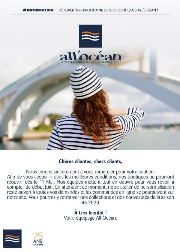 Informations réouverture boutique vêtements marin All'Océan